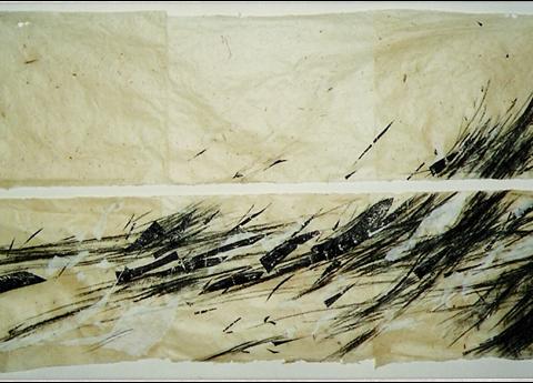 Panta Rhei 140 x 70 cm collage, houtskool, houtdruk op chinees rijstpapier op handgeschept Nepalees papier, serie