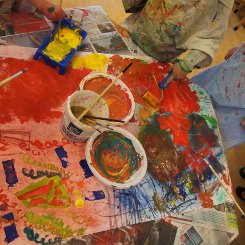 workshop painting and drawing with 4 & 5 year olds